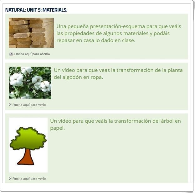 "Unidad 7 de Natural Science de 2º de Primaria: ""Materials"""