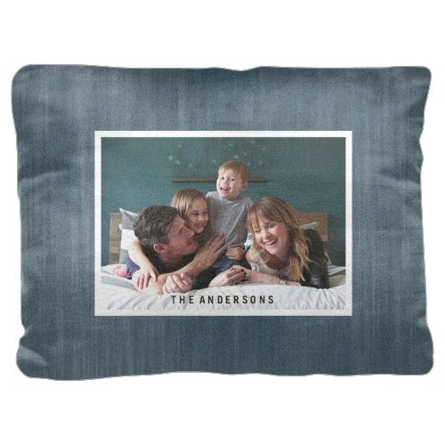 Denim Frame Pillow, Pillow (Ivory), 18 x 24, Single-sided, Blue