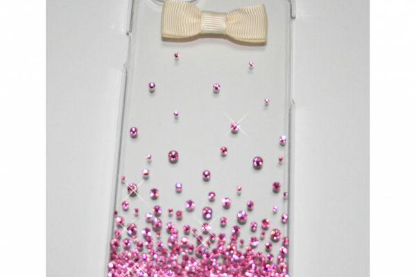 手作市場 | rosemary* | iPhone6ケース☆デコ電☆スワロフスキー 薄ピンクバブルとリボン | つくる、みつかる、つながる ハンドメイド作家応援プロジェクト