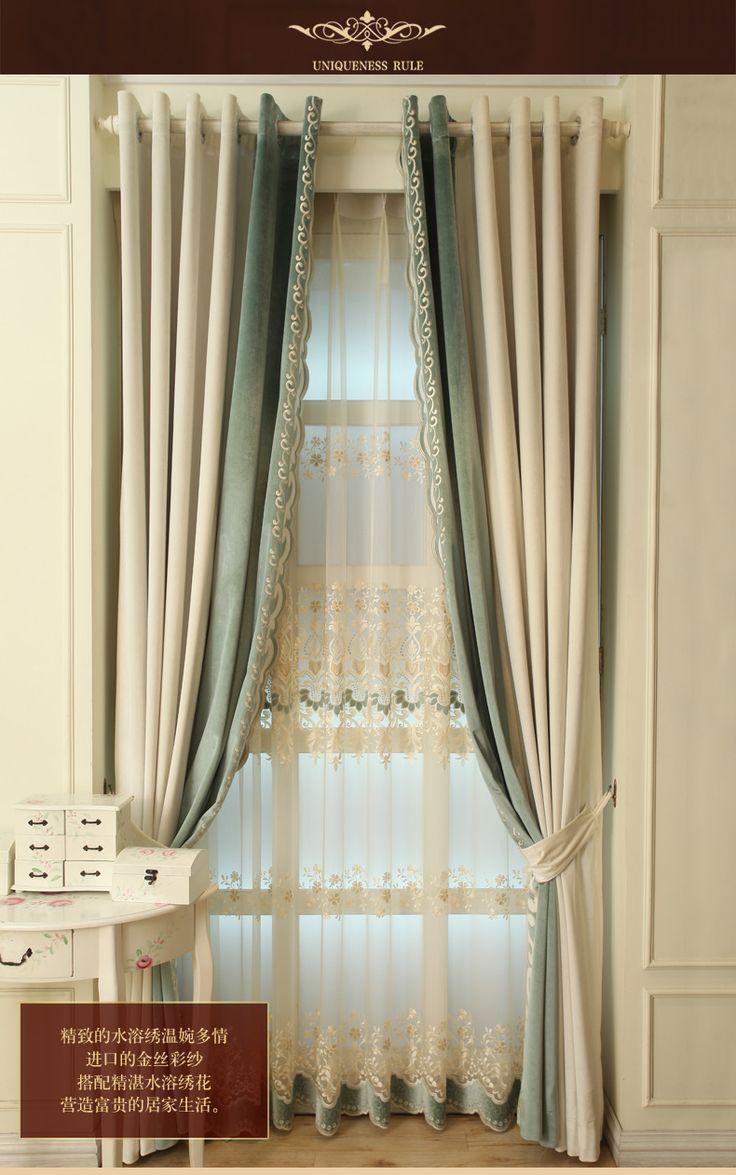 Настроены шторы простой современный италия кашемир ткань вышитые кружевные занавески марли средиземноморской гостиная спальня curtian купить на AliExpress