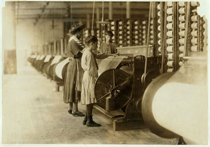 Girls working machine in Loray Mill, Gastonia North Carolina, 1908. Photo by Lewis Hine.