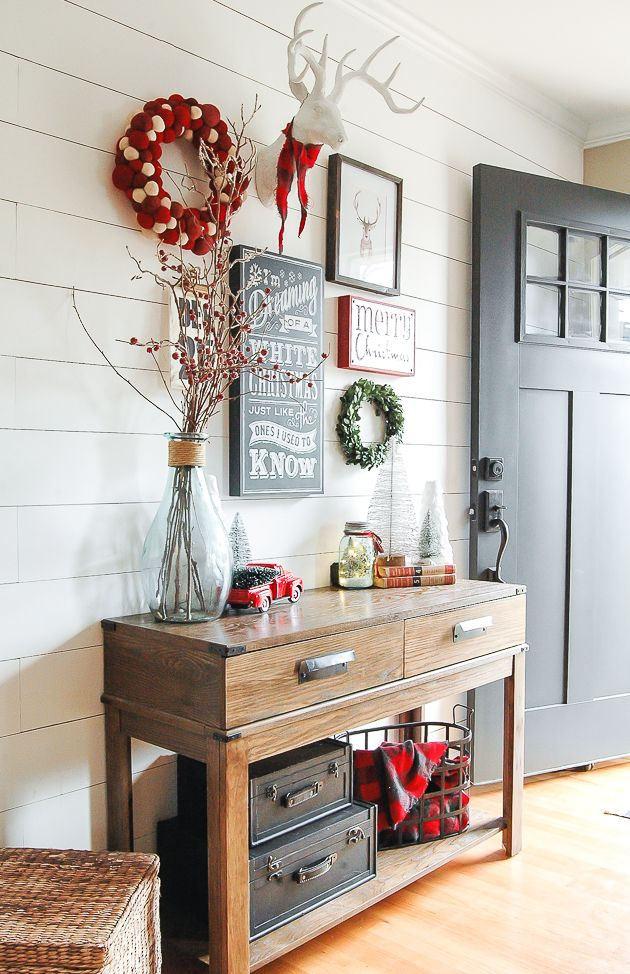 A classic red, white and gray Christmas entryway gallery wall! www.littlehouseoffour.com
