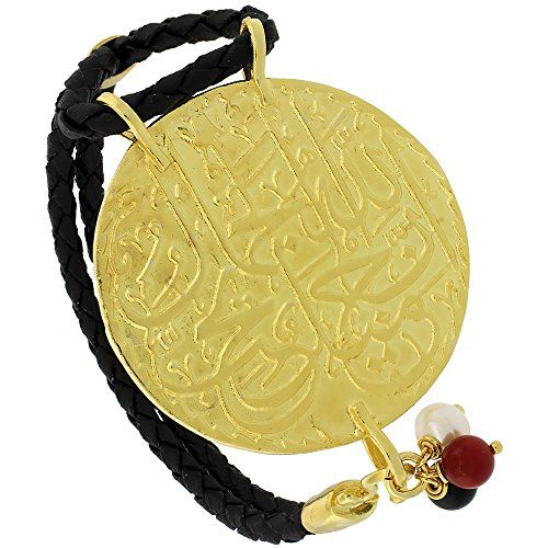 Sterling Silver Islamic 99 NAMES OF GOD Gold Plated Black Braided Leather Bracelet Tricolored Beads 1 1116 inch diameter 75 inches long ** Check out this great product.
