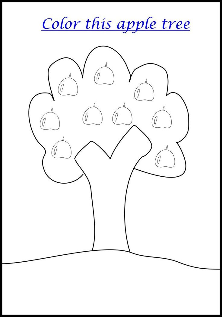 Apple Coloring Page Printable For Kids