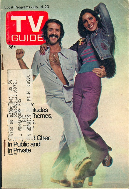 "July 14, 1973. Sonny and Cher Bono of CBS's ""The Sonny and Cher Comedy Hour."""