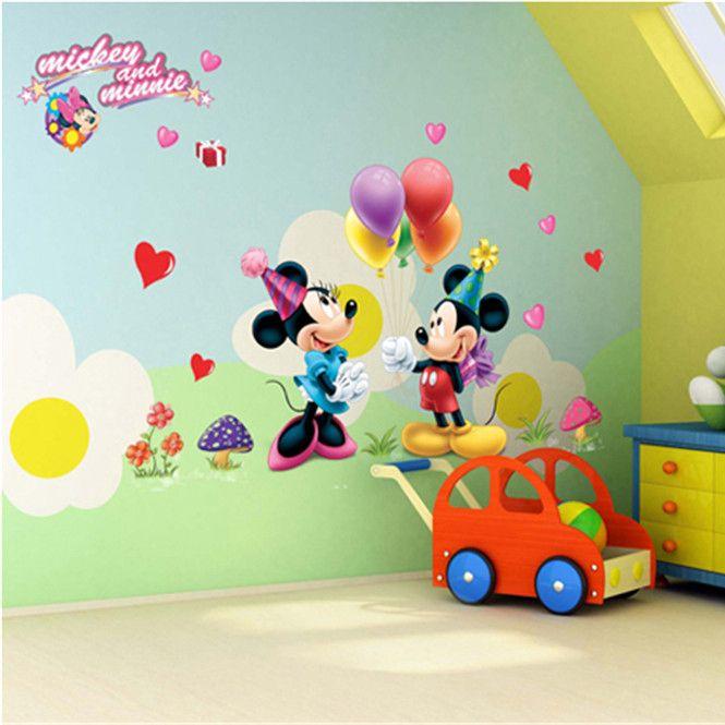 Микки маус DIY виниловые съемные отличительные знаки для детей спальня гостиная ванная комната росписи декора пвх стены стикеры