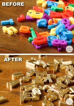 # 9.  DIY Gold magnetische Buchstaben - 29 coole Spray-Farben-Ideen, die Sie eine Tonne des Geldes speichern