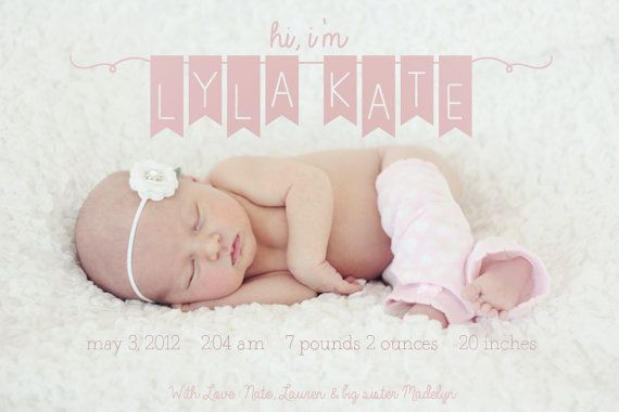 Baby Girl Birth Announcement by lettersbyashclaire on Etsy, $12.00