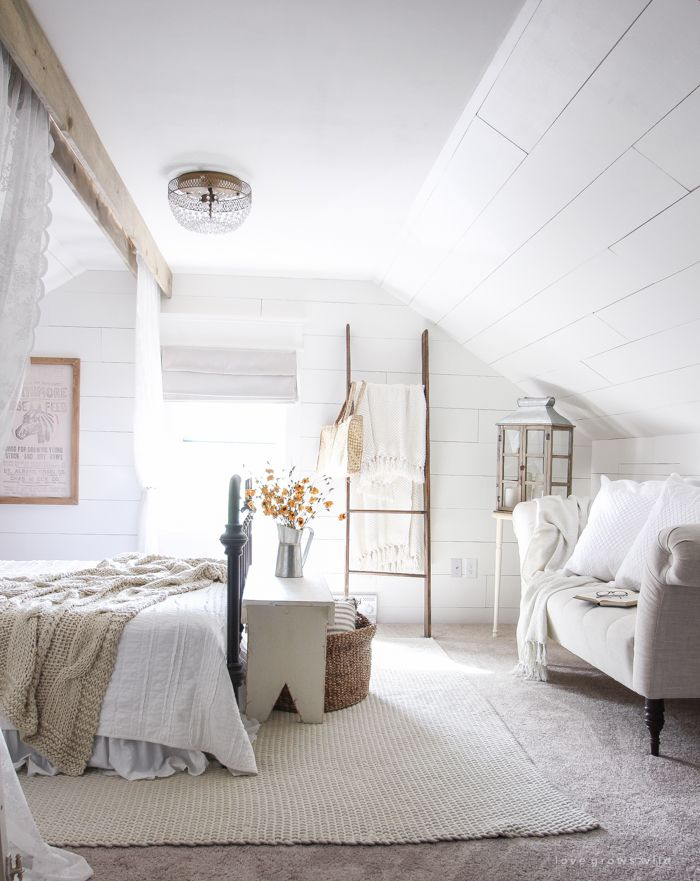 266 best Master Bedroom images on Pinterest A beautiful farmhouse bedroom decorated with simple touches of fall . Farmhouse Bedrooms. Home Design Ideas