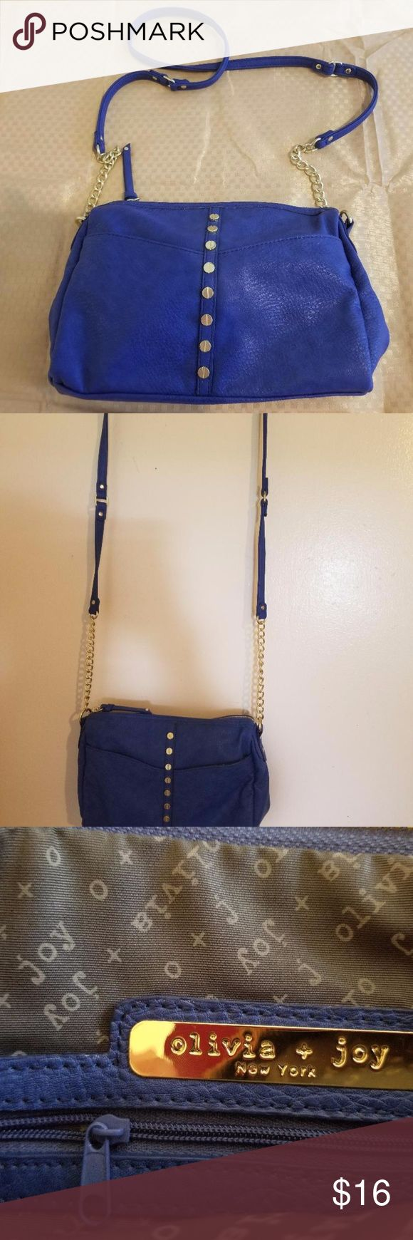 Olivia & Joy over the shoulder handbag New Royal Blue Olivia and Joy handbag with gold accents. Very elegant and chic, soft PVC.  Brand new, unworn, unused. Please see pictures for measurements. Olivia + Joy Bags Shoulder Bags