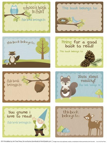 the nuts about reading bookplate label collection for kids with a woodland theme is - Kid Free Books