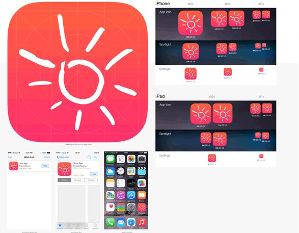 IOS App icon and wireframe - The User Design