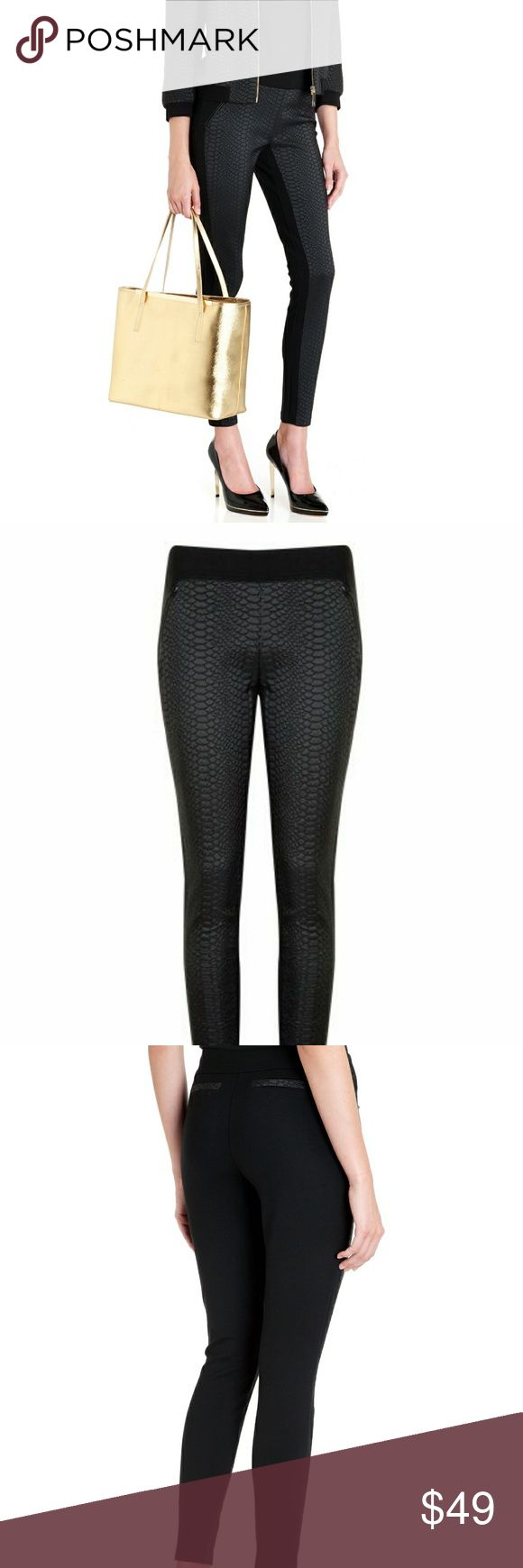 Ted Baker Black Snake Effect Panelled Legging Stretchy luxury pants by Ted Baker size 0 US Size 2. Barely worn perfect condition. Kindly, No offers on this one. It's really high quality with leather details. Ted Baker Pants