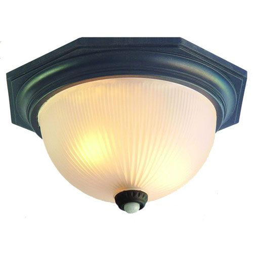 Outer Banks Matte Black Two Light 7 Inch Outdoor Ceiling Flush Mount With  Motion