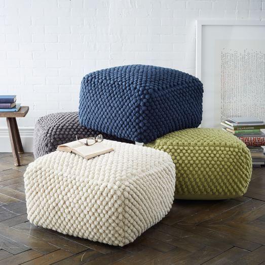 These Poufs are so fun! Love the bubbled texture. Bubble Knit Pouf   West Elm