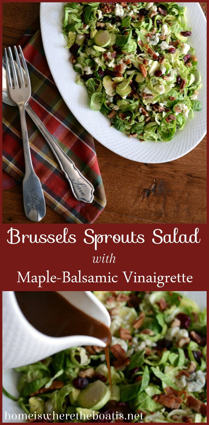 Brussels Sprouts Salad with Maple-Balsamic Vinaigrette - really good leave out shallots next time