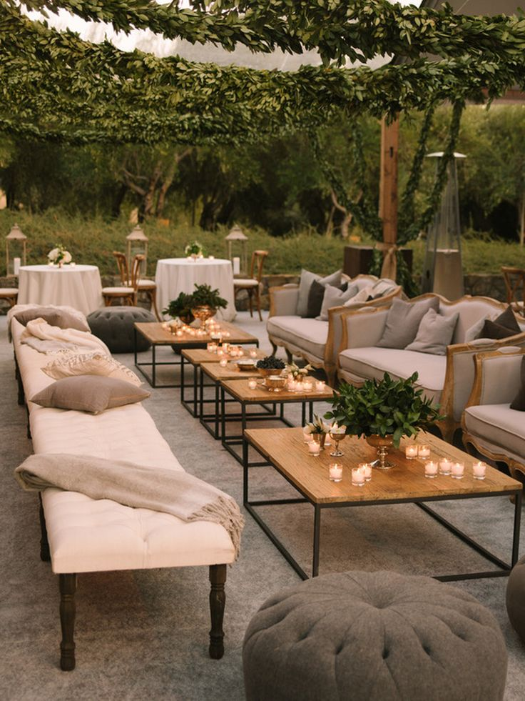 Lounge seating in Dinner Tent. Black Swan Lake Wedding by
