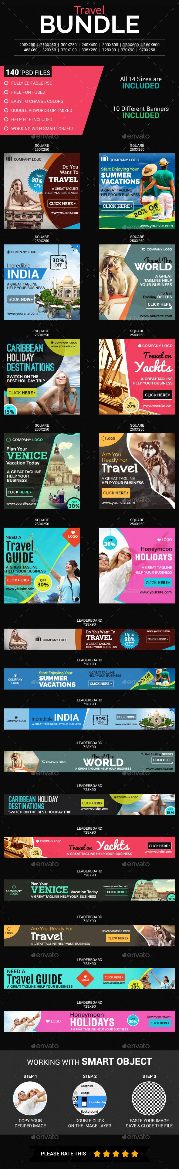 Travel Ads Banner Design Template Bundle (10 Sets) - Banners & Ads Web Element Banner Template PSD. Download here: https://graphicriver.net/item/travel-banner-bundle-10-sets/17725965?s_rank=31&ref=yinkira