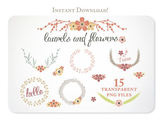 Autumn Laurels and Flowers Design Elements great for blog graphics or creating invitations