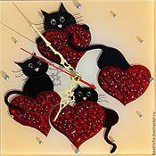 котики с сердечками, часы настенные,