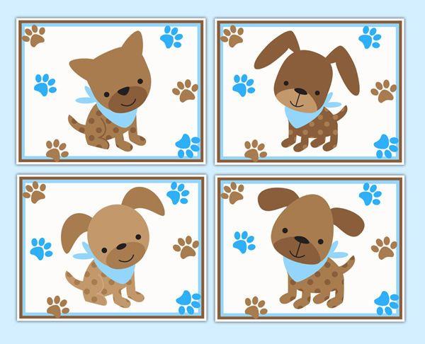 Puppy Nursery Prints Dog Wall Art Baby Boy Blue Brown Paw Tracks Shower Gift #decampstudios