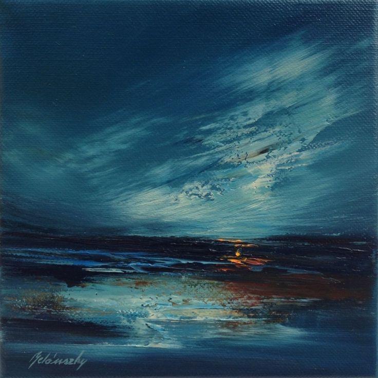 Dreamland II - 20 x 20 cm, abstract landscape oil painting, blue, orange (2016) Oil painting by Beata Belanszky Demko | Artfinder
