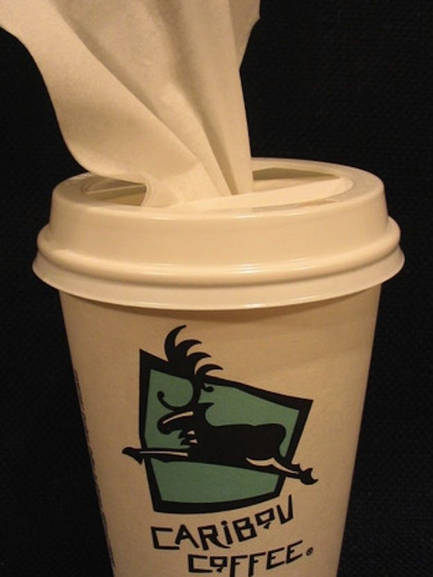 Use a coffee cup to store tissues in your car. Bonus: you know it'll fit into the cup holder. I 21 Cheap And Easy Tricks To Vastly Improve Your Car