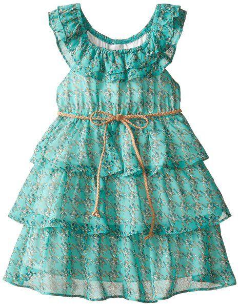 Rare Editions Little Girls' Chiffon Ruffle Dress, Green, 6X