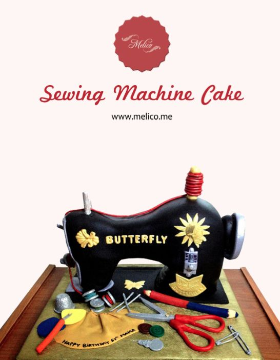 3D Cake - Sewing Machine Cake. #3dcake #cake #ediblecake #sculptedcake #noveltycake #sugarart -- Like and Follow us #melicobali (Instagram)    www.melico.me