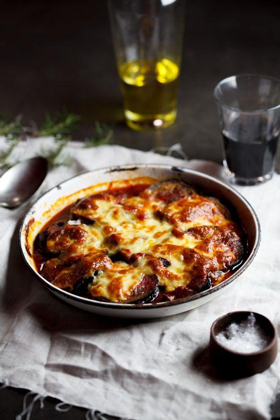 So hearty and delicious! #vegetarian Parmigiana di Melanzane with mushrooms   Simply Delicious