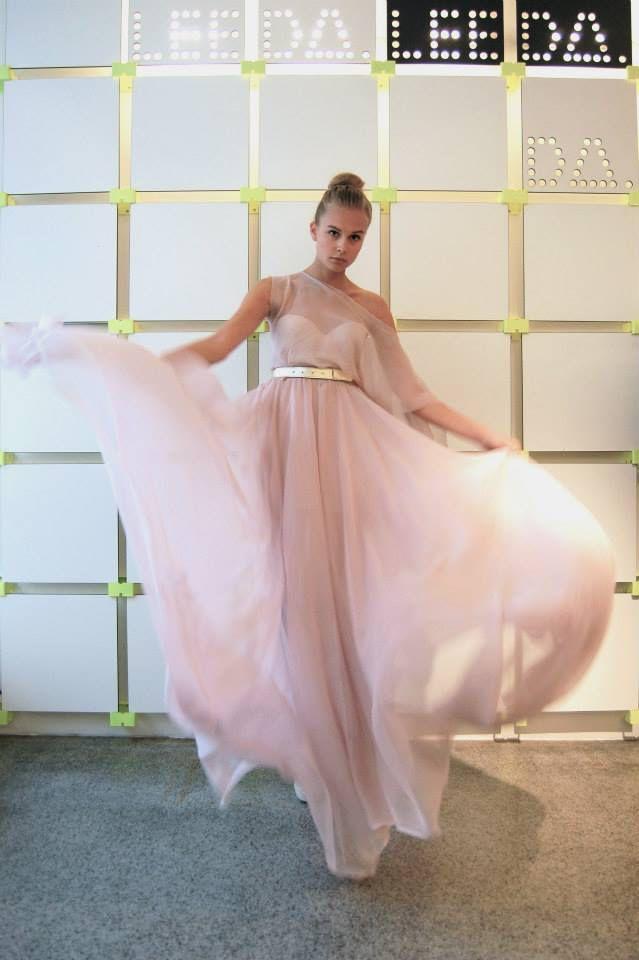 model Tyna wearing Leeda wedding silk dress