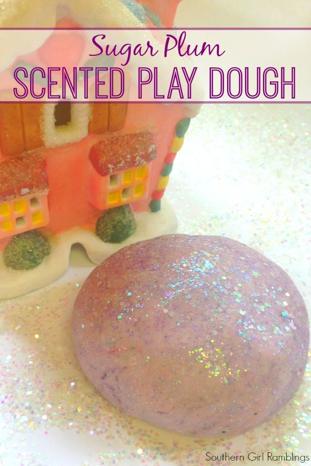 Get ready for the holidays with this scented play dough that smells like sugar plums! It is very easy to make and lasts for weeks!