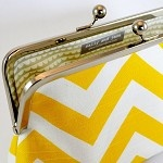 Large clutch in yellow & white chevron zigzag fabric - by sallyandjane on madeit  GAHHH! Need this for my yellow Chevron addition