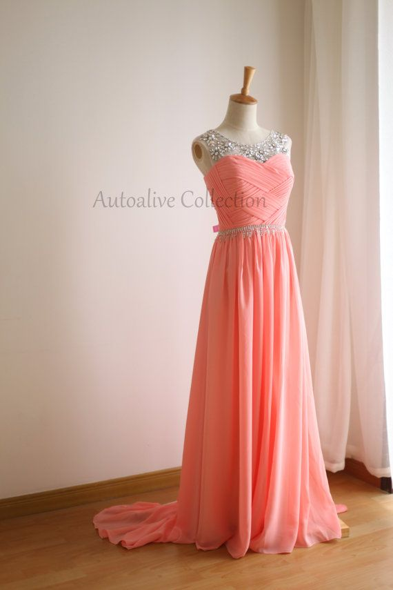 Coral Pink Chiffon Simple Wedding Dress/Bridesmaid by autoalive