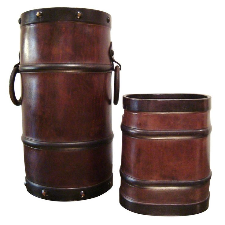 1stdibs.com | 1950s Leather Umbrella Stand and Wastebasket After Jacques Adnet