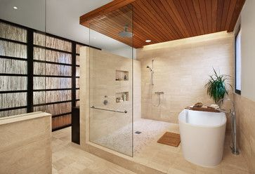Oh YESSS!  Super grand shower with rain shower and multiple sprayers + a tub for those soak evenings...all in a space-saving arrangement.  I WANT this.  2041 West Dickens - contemporary - bathroom - chicago - by Blender Architecture