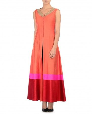 Orange Kurta Set with Red Hem