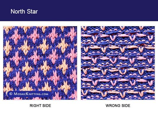 Mosaic Knitting. Two color Knitting Pattern. Right side and wrong side of the North Star stitch