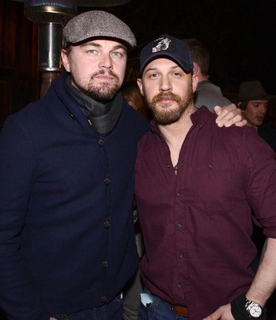 """Omg   Leonardo DiCaprio and Tom Hardy at """"The Revenant"""" Party at MadeWorn   Tuesday, Dec. 15, 2015, in Los Angeles. (Photo by Dan Steinberg/Invision for Twentieth Century Fox/AP Images)"""