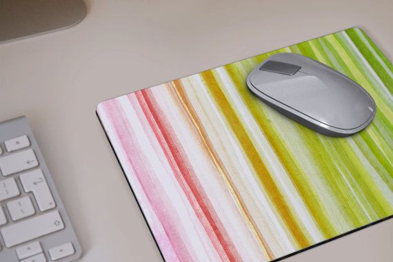 MOUSEPAD watercolor stripes green yellow orange pink Mouse pad by DeWadaSTORE
