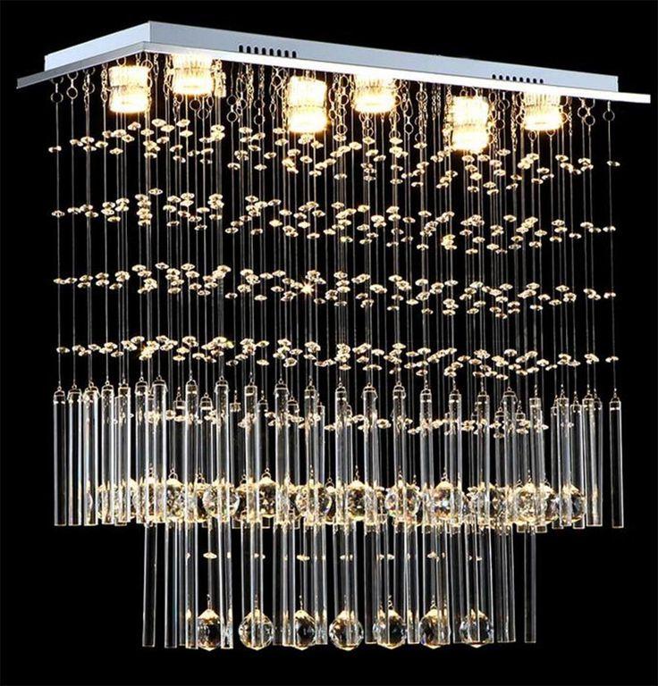 Modern LED crystal chandeliers Rectangular crystal pendant lamp Restaurant lights GU10 droplight 110V-260V Voltage lighting  #e #s #lighting #ec #chandelier £360.99 #organic #natural #ecofriendly #sustainaable #sustainthefuture