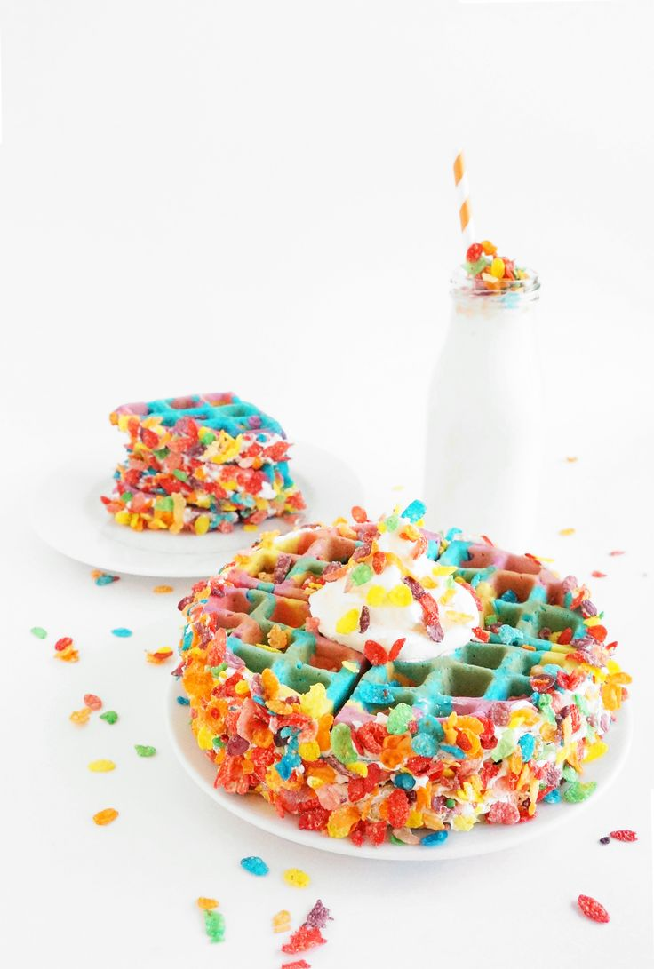 Tie Dye Fruity Pebbles Crusted Waffles. Unicorn Food recipe at its most colorful.