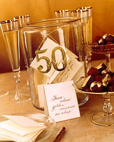a jar for every table at an anniversary party where guests use decorative notecards to write favorite memories with the celebrated couple: Golden Couple, Anniversaries Ideas, 50Th Anniversaries, Memories Jars, Favorite Memories, Parties Ideas, Golden Anniversaries, Guest Writing, Anniversaries Parties