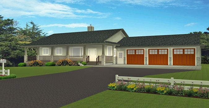 Plan 2015870 Ranch Style Bungalow Plan With A Finished Basement 3 Car Garage 5 Bedrooms 4 Bath Basement House Plans Ranch House Plans Bungalow Style House