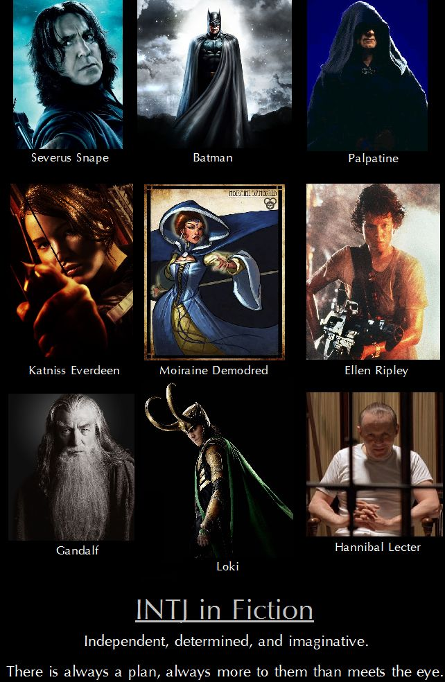 INTJ fictional characters:   Snape of Harry Potter, Batman, Palpatine of Star Wars, Katniss of Hunger Games, Moiraine of Wheel of Time, Ripley of Aliens, Gandalf of Hobbit and Lord of the Rings, Loki, Hannibal Lecter of Silence of the Lambs  (I know some will debate some of these but there is sufficient evidence to support that they all embody INTJ.)