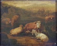 """Lot No 445 19th Century Continental oil on panel, study of sheep, gates and cattle in an extensive landscape with figures 9.5"""" x 11.5"""", est £120-160"""
