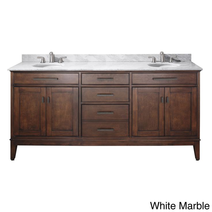 Avanity Madison 72 Inch Double Vanity In Tobacco Finish With Dual Sinks And  Top |