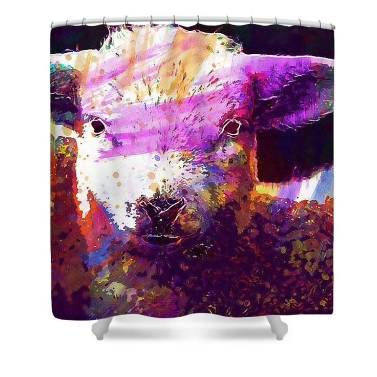 9212 Shower Curtain featuring the digital art Lamb Nature Animal Spring Meadow by PixBreak Art