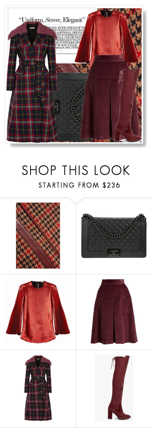 """Statement Coats: Plaid"" by muhammadtanim on Polyvore featuring Prada, Chanel, Christopher Kane, Miu Miu and Somerset by Alice Temperley"