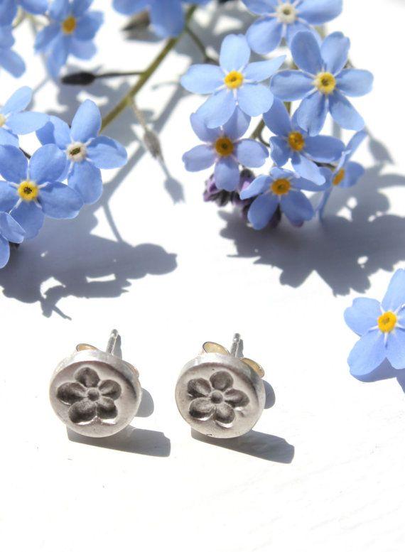 Flower stud earrings silver flower studs by littlesilverhedgehog
